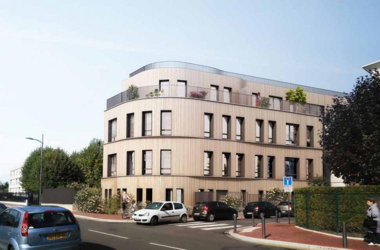 Clos et couvert de logements collectifs à ossature bois à Enghien les Bains
