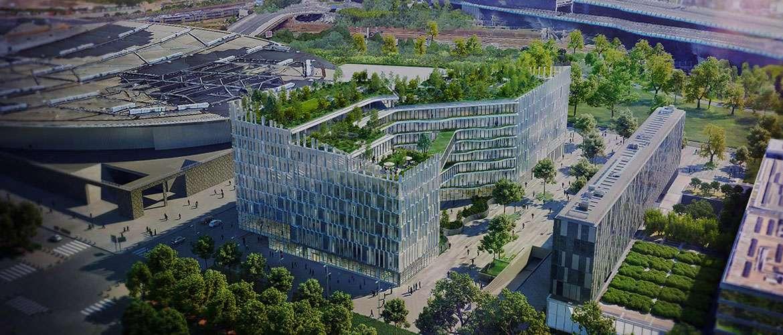 Modules sanitaires à ossature bois pour l'immeuble de bureaux Biotope à Lille