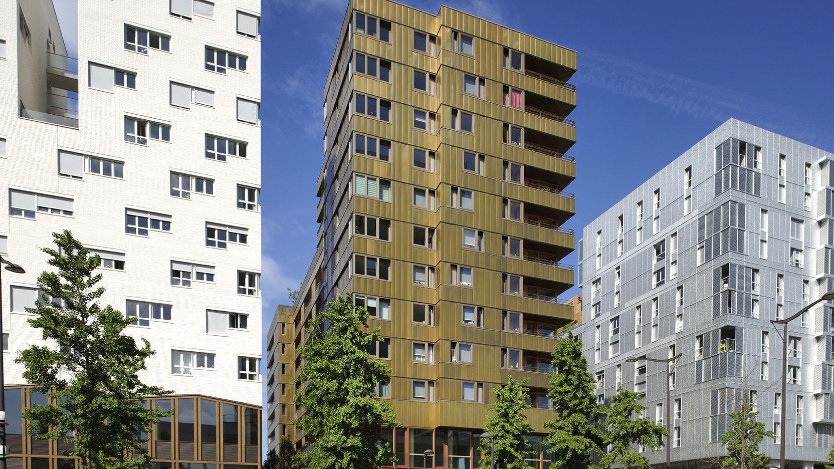 Tour or-bronze et bois-béton, Paris 13ème