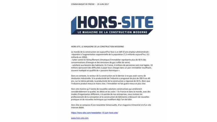 Nouvelle publication : Hors-site le magazine de la construction moderne