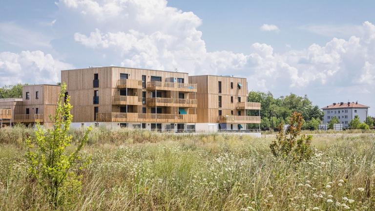 Ville en structure bois sur pilotis à la ZAC du Bohrie à Ostwald près de Strasbourg